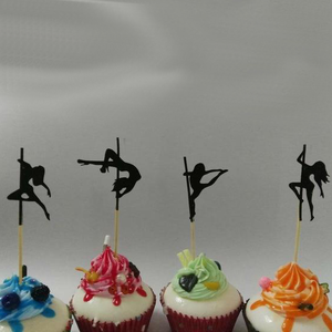 Pole Dancing Silhouette Cupcake Toppers x 30 pieces