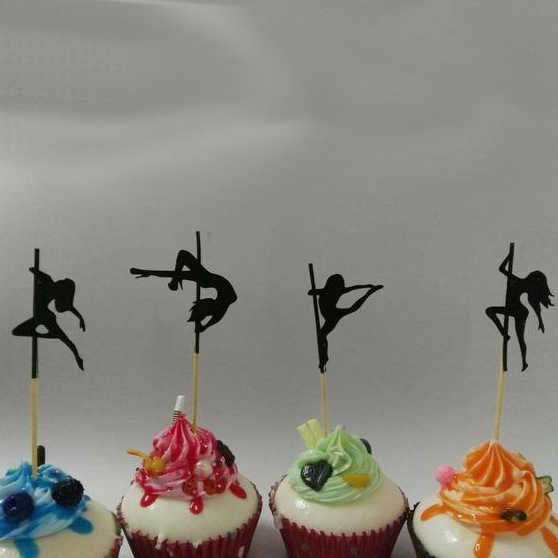 Pole Dancing Silhouette Cupcake Toppers x 40 pieces