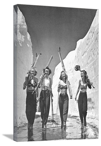 "24""x36"" Girls Gone Skiing ""World Famous"" Vintage Ski Poster"
