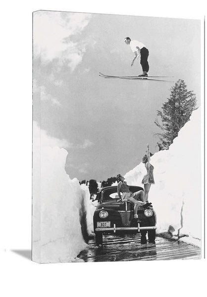 "Dick Brown Jumping over 1940 Girls On Truck Vintage Ski Poster 11""x14"""