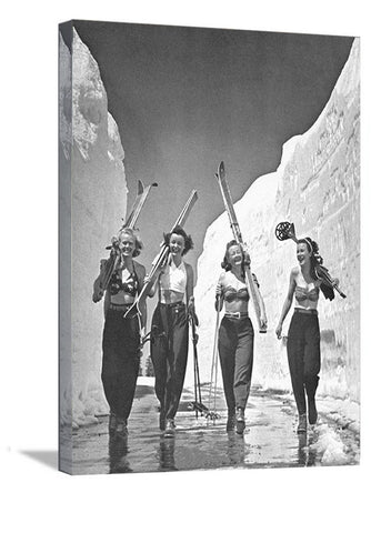 "Girls Gone Skiing World Famous Ski Print 1942 11""x14"""