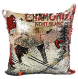 NEW Reverse Sequin Vintage Ski Pillow
