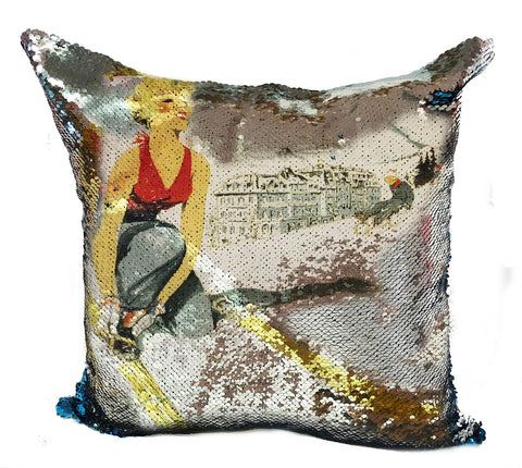NEW! Reverse Sequin COMBLOUX Pillow