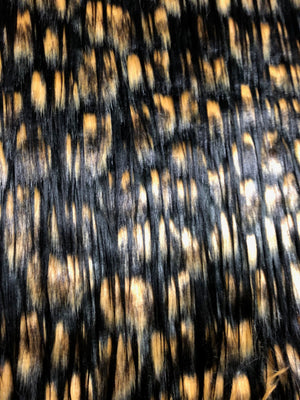Multi-color faux fur (Black, tan, beige)