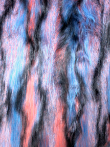 Multi-color faux fur (Blue, purple, orange, black)