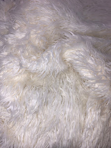 Faux Mongolian Lamb Fur White