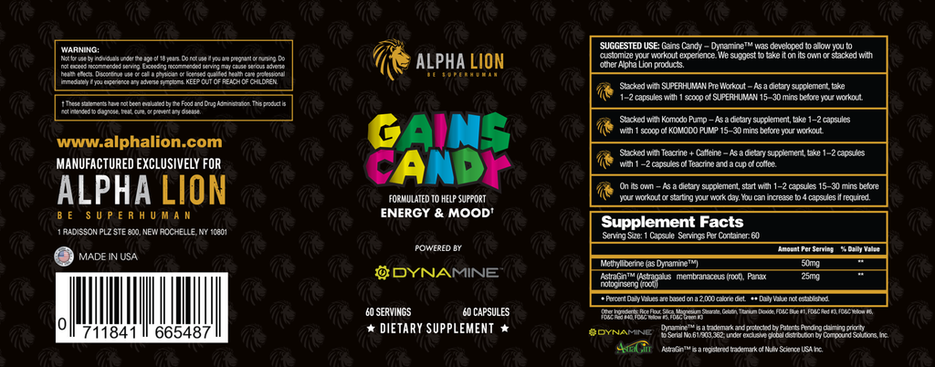 Gains Candy Dynamine Label