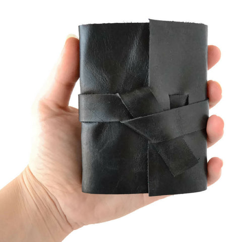 Black Leather mini Notebook with Unlined Pages that fits in your hand