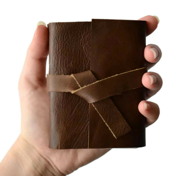 Custom 3x4 inch mini Journal with Chocolate Leather and Unlined Pages that fits in your hand