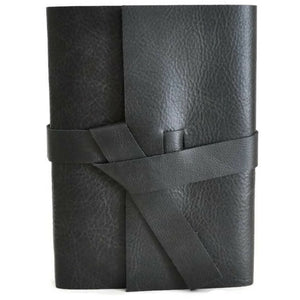 Front view of Black Leather Journal