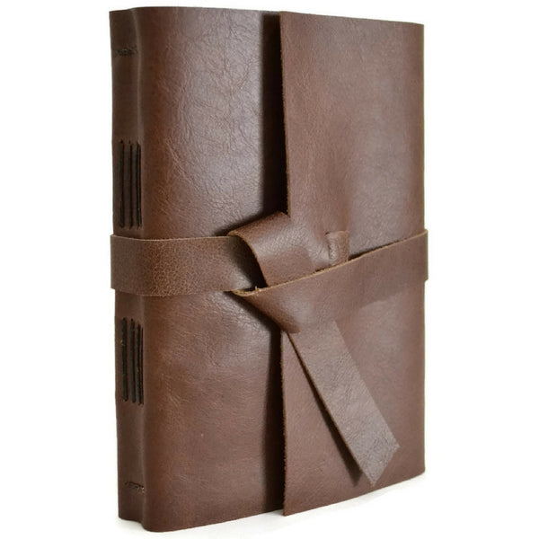5x7 Chocolate brown leather journal angled front view