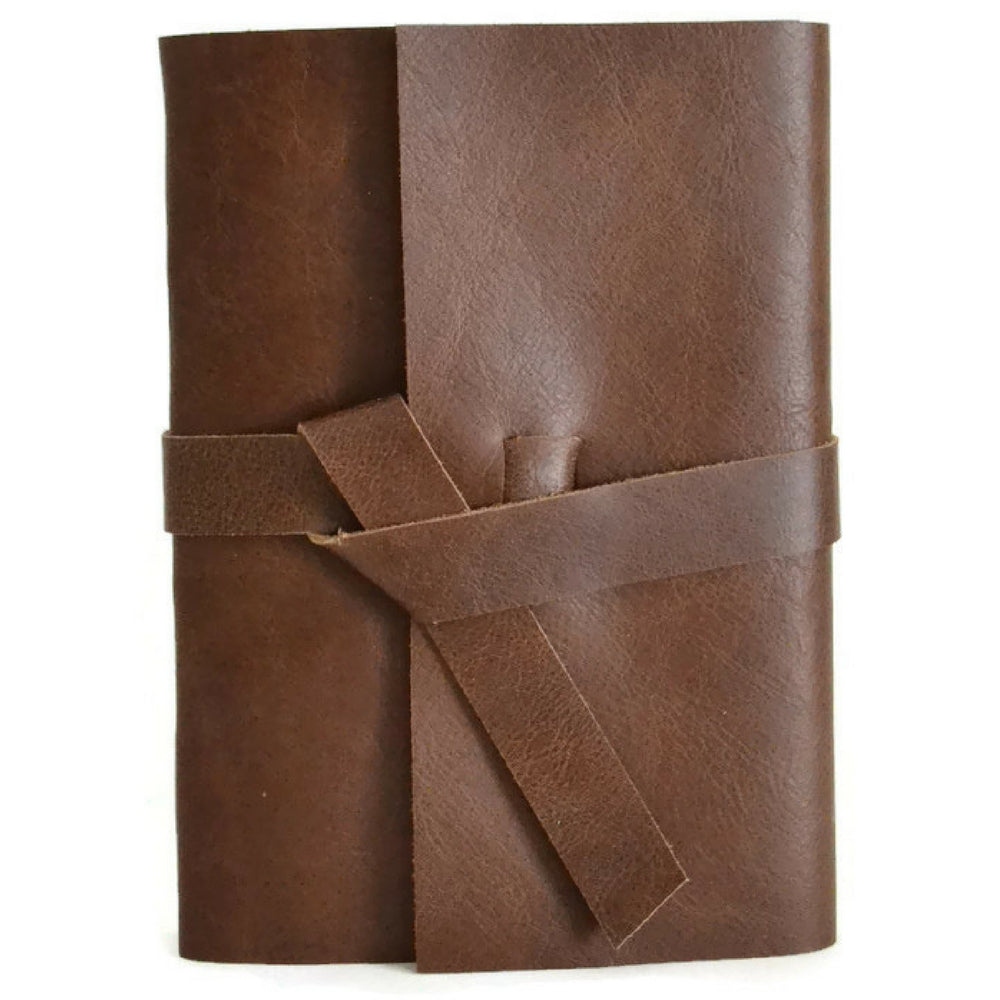 Front view of Chocolate leather journal
