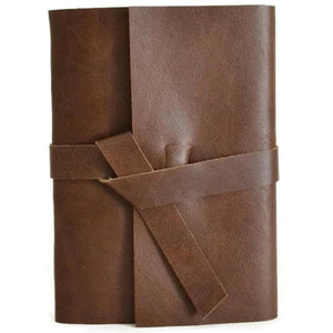 5x7 Chocolate brown leather journal front view