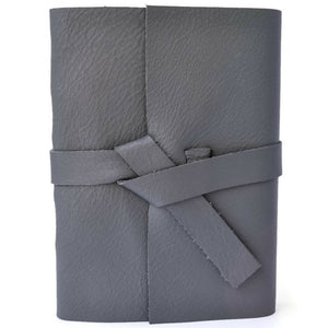 Front view of Gray leather journal
