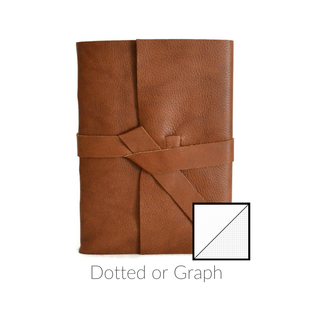 Cognac Brown Handmade Leather Bullet Journal Front View