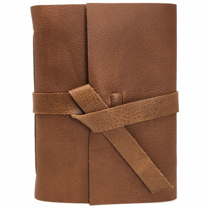 Front view of Golden Brown Leather Journal