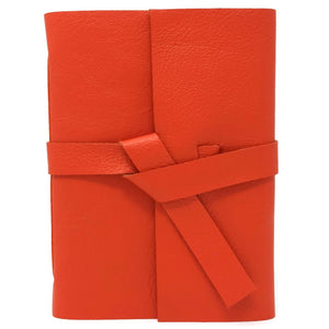 Front view of Orange Leather Journal