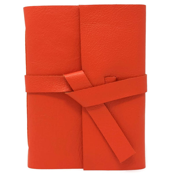 Orange Slim Leather Travel Journal, 96 pages
