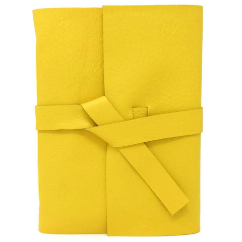 Front of a yellow leather sketchbook