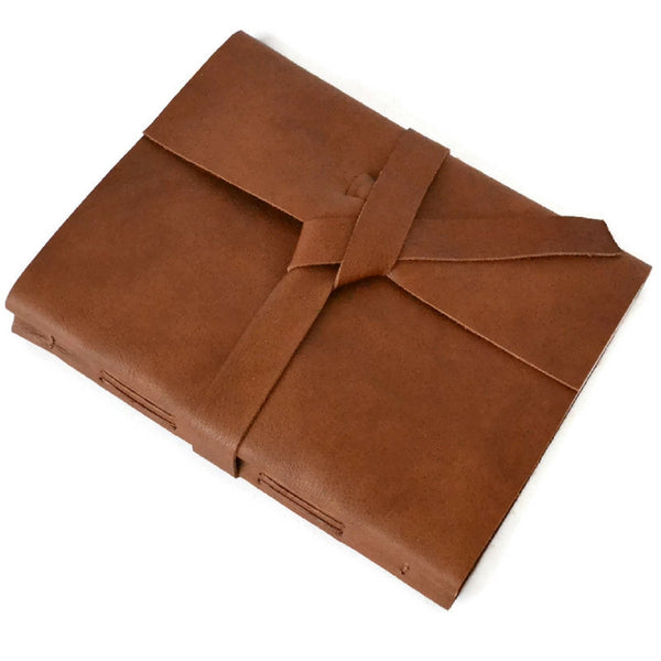 Leather Bound Journal Custom Made with Genuine Leather in Cognac Brown
