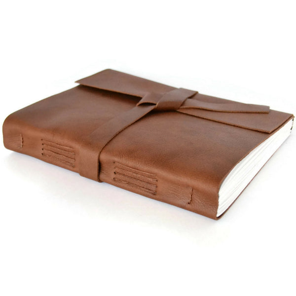 Custom Journal with Unlined Pages made with Cognac Brown Leather Cover