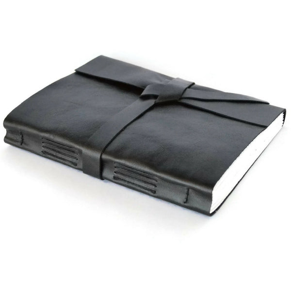 Custom Personalized Black Leather Journal with leather wrap tie
