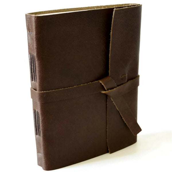 Brown Leather Journal with lined pages made with genuine leather