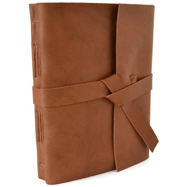 Unlined Leather Bound Sketchbook with Wrap around Cover and Leather Strap Tie