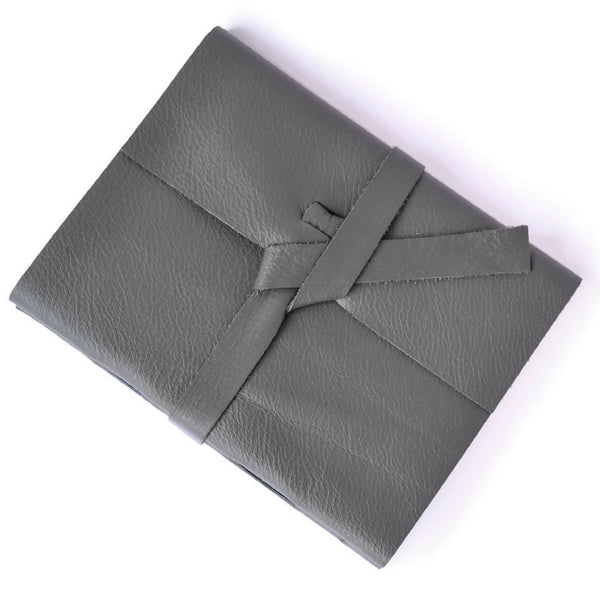 Gray Leather Notebook with lined paper and custom thread color