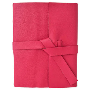 Personalized Pink Leather Journal that can be customized with initials