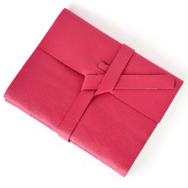 Pink Leather Bound Sketchbook with Wrap Tie