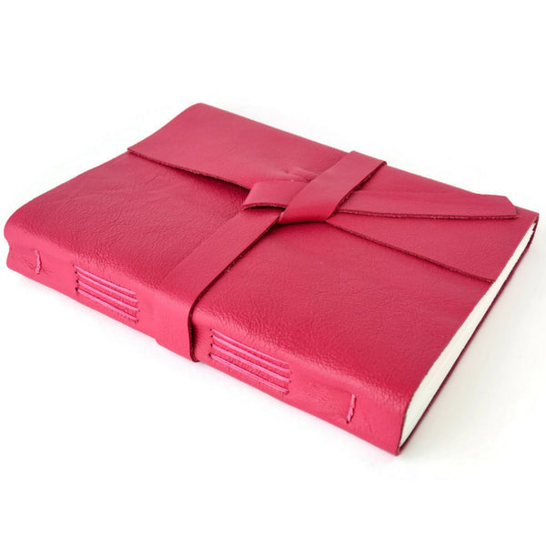 Custom Pink Leather Wrap Journal with Lined Pages