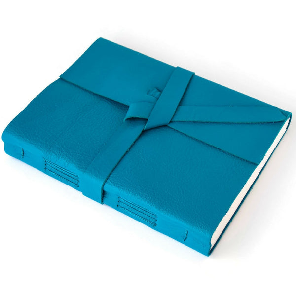 Custom Teal Sketchbook with unlined Pages made with Genuine Leather
