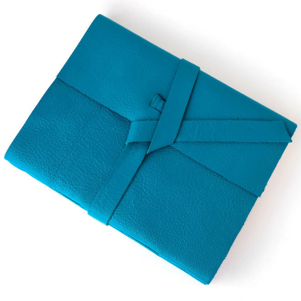 Custom Teal Leather Notebook with lined paper and custom thread color