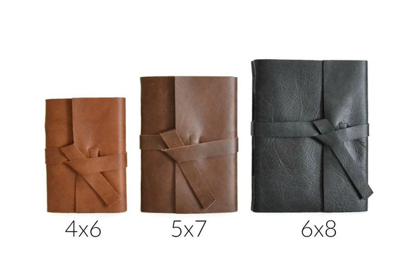 Size Comparison of 4x6, 5x7, and 6x8 inch leather journals