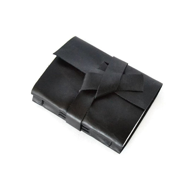 Black leather mini notebook top view