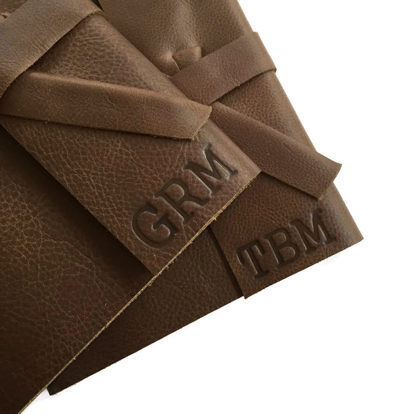 Brown Leather Journals Debossed with Stamped Personalized Initials or Monogram in bottom corner