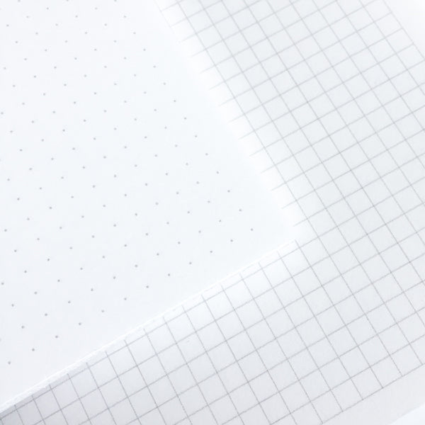Inside View of Bullet Journal Dot and Graph Grid Pages
