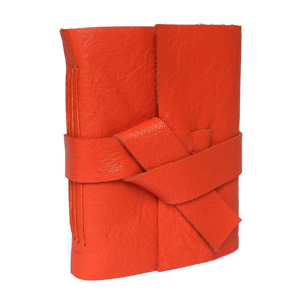 Front view of Mini Orange Leather Notebook