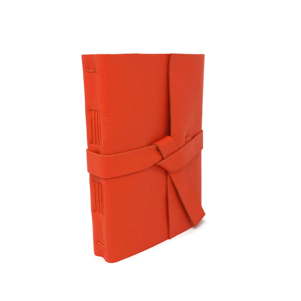 Front angled view of Orange Leather Journal