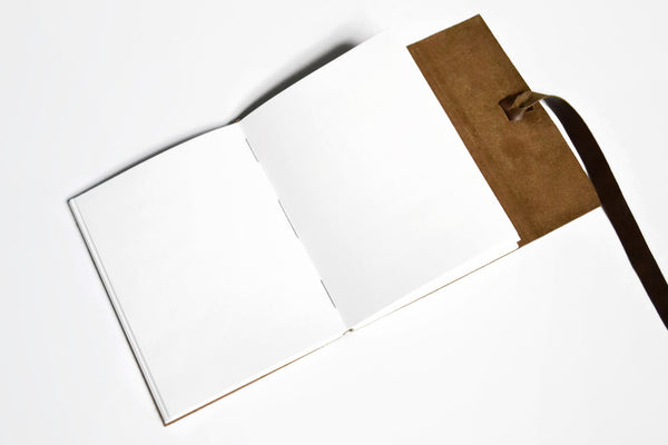 Inside View of Handmade Leather Journal with Unlined Pages