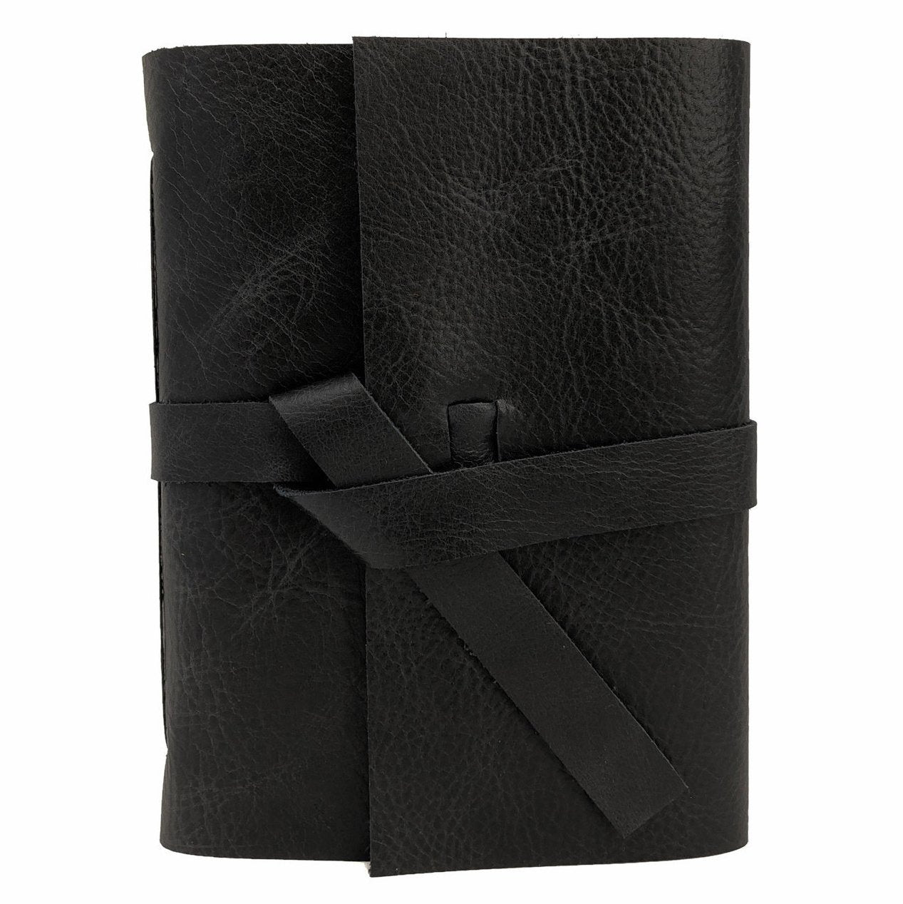 Front of Black leather Slim Journal