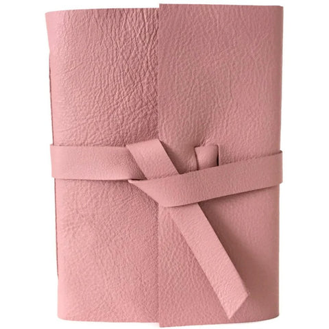 Blush Pink Leather Journal Front View