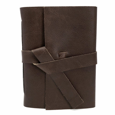 Front view chocolate slim leather journal