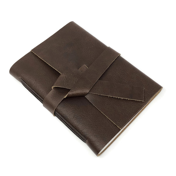 Chocolate Brown Slim Leather Travel Journal, 96 pages