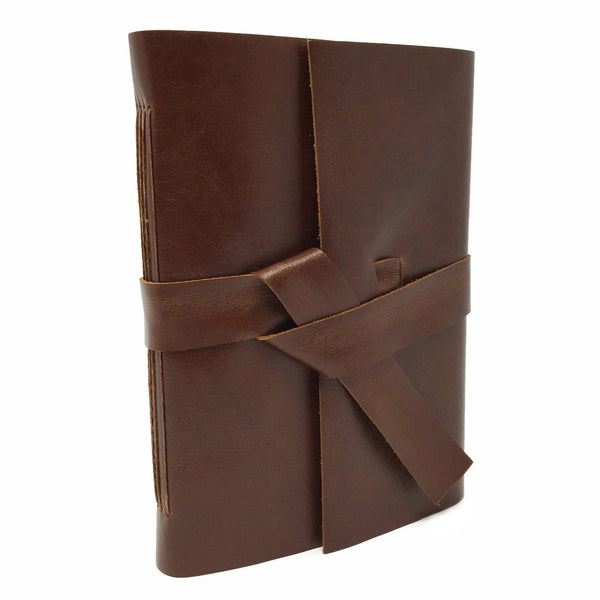 Burnt Umber Leather Journal Front Angled View