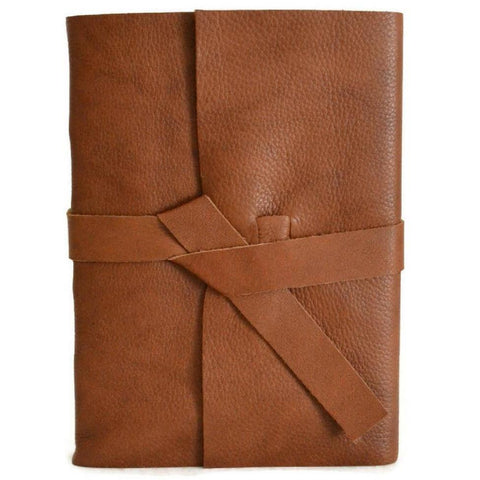 Front view of Cognac Brown leather journal