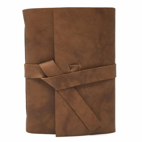 Front view of Cognac Brown leather slim journal