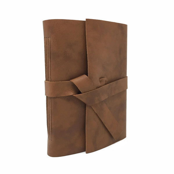 Front Angled View of Cognac Brown Leather Journal