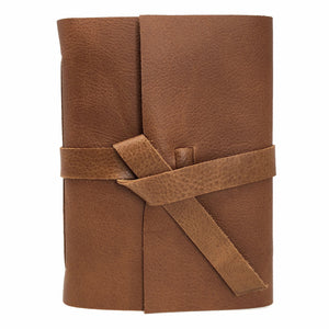 Front of Golden Brown Slim Leather Journal